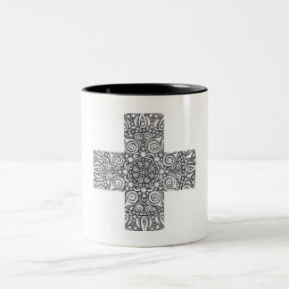 Cross Mandala Two-Tone Coffee Mug