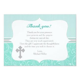 Cross Mint Green Thank You Card