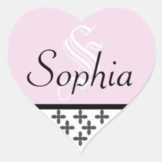 Cross Monogram Sticker_Pink Heart Sticker
