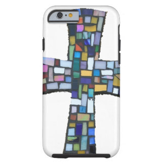 cross mosaic colored red blue green Christian Tough iPhone 6 Case