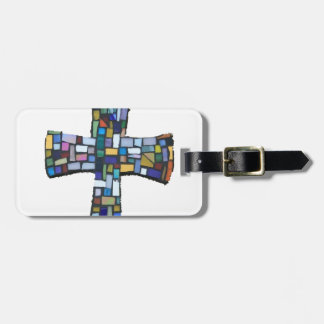 cross mosaic colored red blue green Christian Luggage Tag