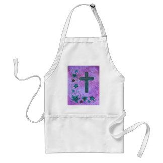 Cross n flowers in blue on purple standard apron