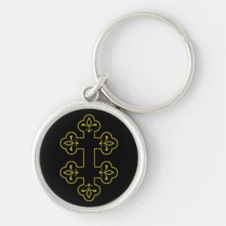 Cross of Lorraine Silver-Colored Round Key Ring