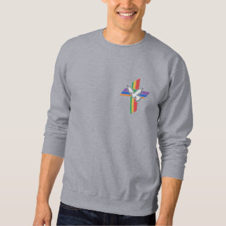 Cross of Peace with dove and rainbow Embroidered Sweatshirt