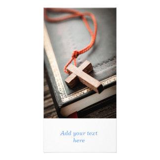 Cross on Bible Customized Photo Card