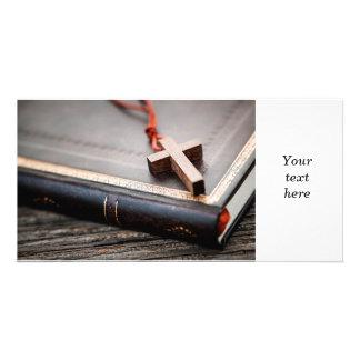 Cross on Bible Custom Photo Card