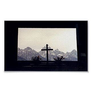 Cross on Mount Moran Poster
