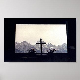 Cross on Mount Moran Poster
