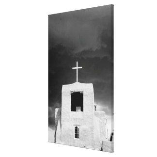 Cross on oldest church, San Miguel, Santa Fe, Gallery Wrapped Canvas