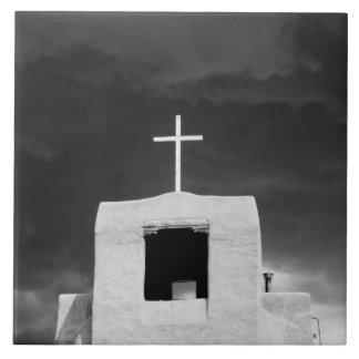 Cross on oldest church, San Miguel, Santa Fe, Large Square Tile