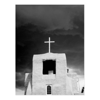 Cross on oldest church, San Miguel, Santa Fe, Postcard