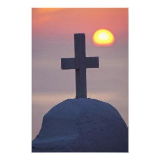 Cross on top of church at sunset, Mykonos, Photo Print