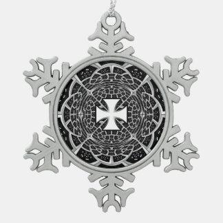 Cross pattée pewter snowflake decoration