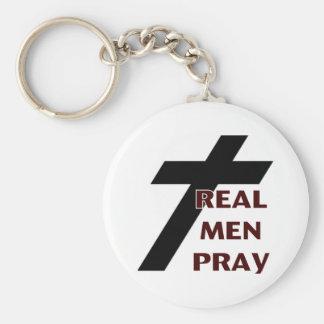 Cross - Real Men Pray Key Ring