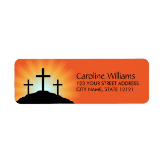 Cross silhouettes against sunrise Christian faith Return Address Label
