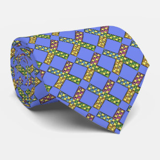cross smiley puts on a tie