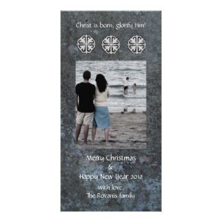 Cross Snowflakes Photo Greeting Card