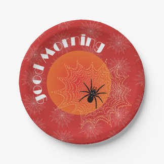 Cross spider in the net with rope drops such as paper plate