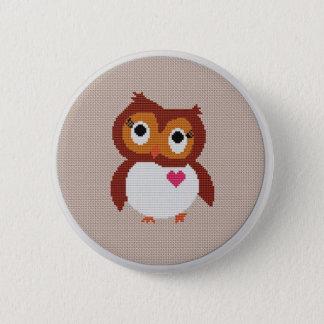 Cross stitch badge with owl