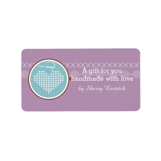 Cross stitch embroidery hoop heart needle thread address label