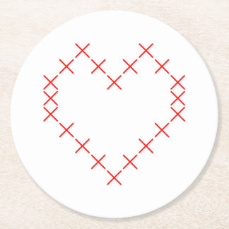 Cross stitch heart round paper coaster