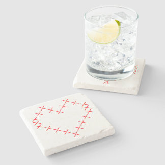 Cross stitch heart stone coaster