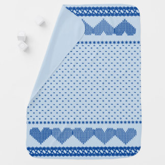 Cross Stitch Hearts Baby Blanket Blue