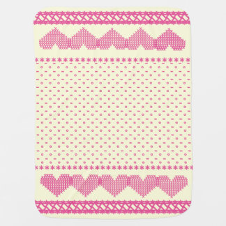 Cross Stitch Hearts Baby Blanket Ivory/Pink