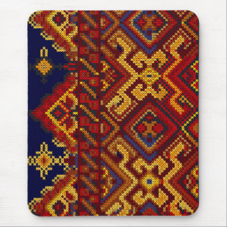 Cross Stitch Modern Red Yellow Mousepad