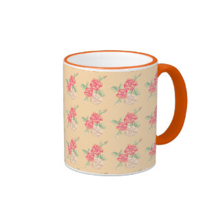 Cross stitch rose coffee mug