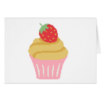 Cross stitch strawberry cupcake greeting card