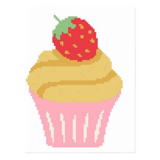 Cross stitch strawberry cupcake postcard