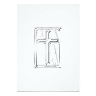 Cross Sunburst 13 Cm X 18 Cm Invitation Card