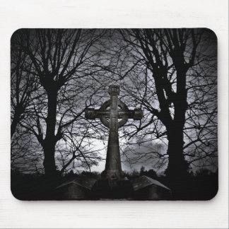 Cross surrounded by trees mouse pad