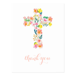 Cross thank you card, religious thank you note postcard
