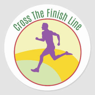 Cross The Finish Line Round Stickers