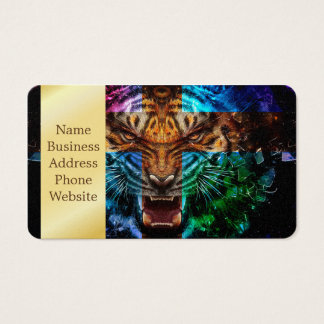 Cross tiger - angry tiger - tiger face - tiger wil business card