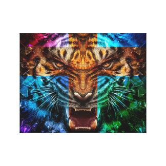 Cross tiger - angry tiger - tiger face - tiger wil canvas print