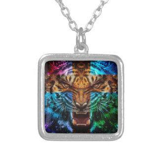 Cross tiger - angry tiger - tiger face - tiger wil silver plated necklace