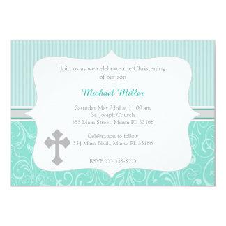 Cross Turquoise Christening Invitation