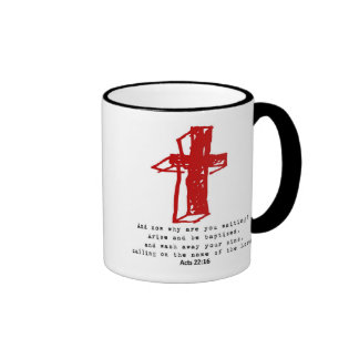 Cross w/ Acts 22 16 Ringer Mug
