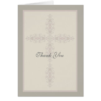 Cross Watermark Religious Thank You Card
