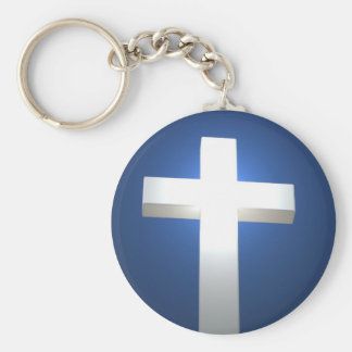 Cross, white and glowing! key ring