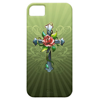 Cross with a Thorned Rose iPhone 5 Case