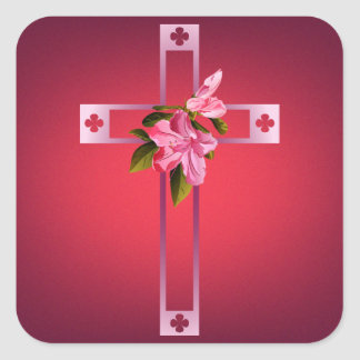 Cross with Azalea Flowers Easter Square Sticker