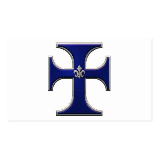 Cross with fleur-de-lis - Blue Business Card Template