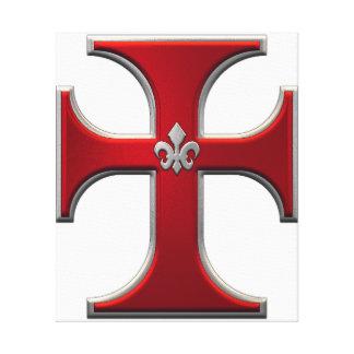 Cross with fleur-de-lis – Red Canvas Print