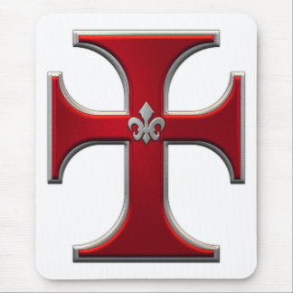 Cross with fleur-de-lis – Red Mouse Pad