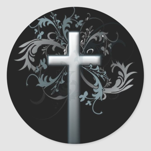 Cross with floral graphics stickers