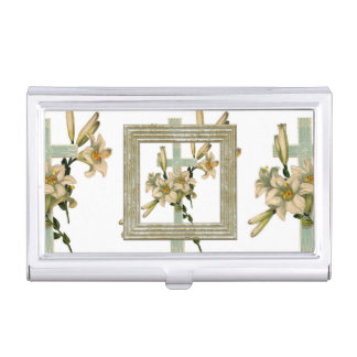 Cross With Flowers Business Card Holder